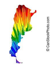 Argentina - map is designed rainbow abstract colorful pattern, Federative Argentine Republic map made of color explosion,