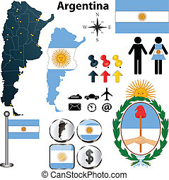 Vector of Argentina set with detailed country shape with region borders, flags and icons