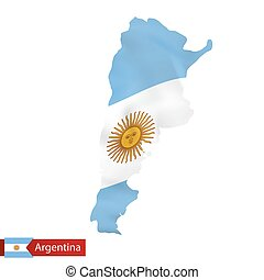 Argentina map with waving flag of country.