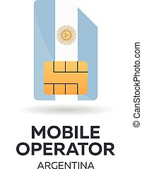 Argentina mobile operator. SIM card with flag. Vector illustration.