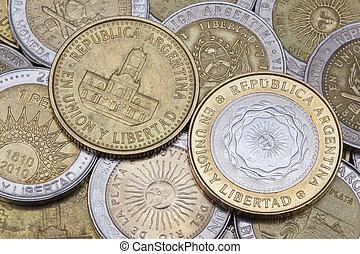argentina, mynter, olika