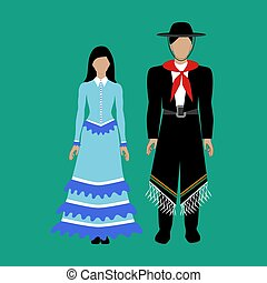 Argentina national costume Gaucho on the green background. ...