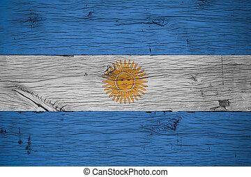 Argentina national flag painted old oak wood