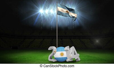 Argentina national flag waving on football pitch on black...