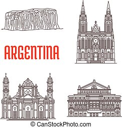 Argentina natural and architecture landmarks. Tourist sightseeing icons of Iguazu Falls, Cathedral of La Plata, Teatro Colon, Cathedral of Salta
