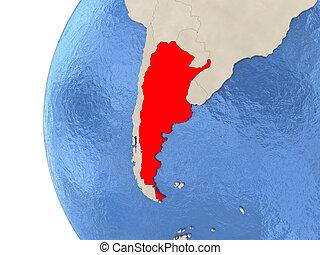 Argentina on 3D globe