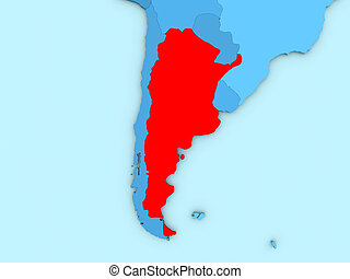 Argentina on 3D map
