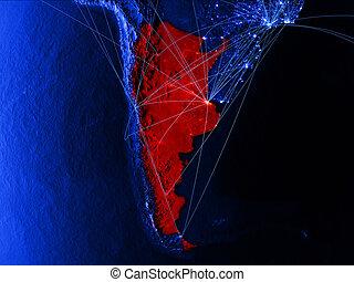 Argentina on blue blue digital map