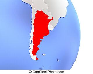 Argentina on elegant modern 3D globe