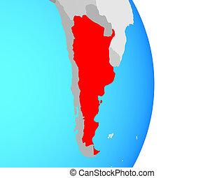 Argentina on globe