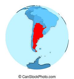 Argentina on globe isolated