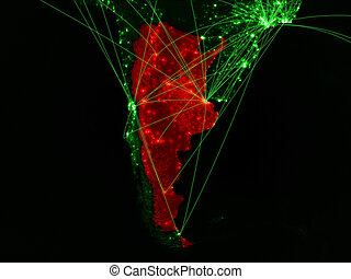 Argentina on green map