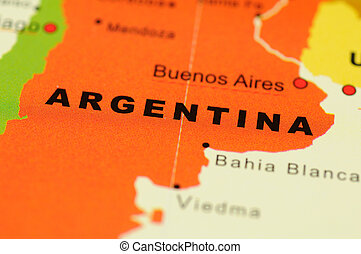 Argentina on map - Close up of Buenos Aires, Argentina on...