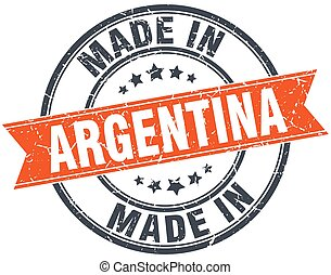 Argentina orange grunge ribbon stamp on white