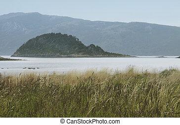 argentina, paisagem, com, lago, e, montanhas