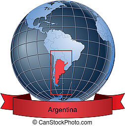 Argentina, position on the globe Vector version with ...
