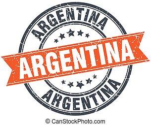 Argentina red round grunge vintage ribbon stamp