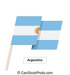 Argentina Ribbon Waving Flag Isolated on White. Vector...