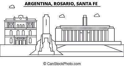 Argentina, Rosario (Santa Fe) architecture skyline: buildings, silhouette, outline landscape, landmarks. Editable strokes. Flat design line banner, vector illustration concept.