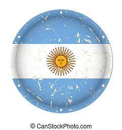 Argentina - round metal scratched flag with holes
