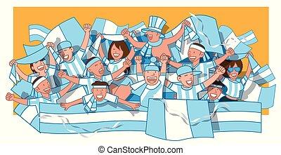 Argentina soccer fans cheering