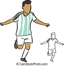 argentina soccer player vector illustration sketch doodle hand drawn with black lines isolated on white background