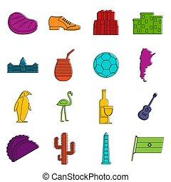 Argentina travel items icons set. Doodle illustration of icons isolated on white background for any web design