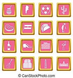 Argentina travel items icons set in pink color isolated illustration for web and any design