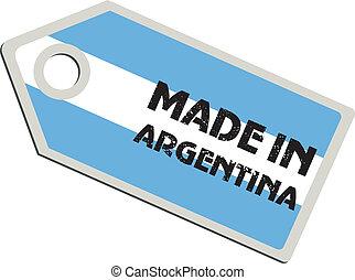argentina, vector, etiqueta, hecho