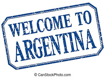 Argentina - welcome blue vintage isolated label