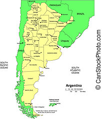 Argentina, editable vector map broken down by administrative districts includes surrounding countries, in color with cities, district names and capitals, all objects editable. Great for building sales and marketing territory maps, illustrations, web graphics and graphic design. Includes sections of ...