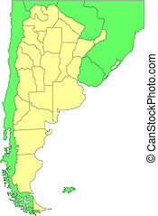 Argentina with Administrative Districts and Surrounding...
