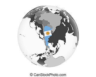 Argentina with flag on globe isolated