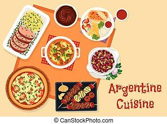 Argentine cuisine lunch menu with dessert icon