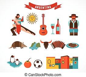 argentine, ensemble, -, icônes