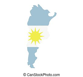 Argentine map with flag