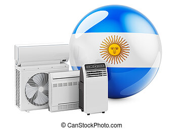 Argentinean flag with cooling and climate electric devices. Manufacturing, trading and service of air conditioners in Argentina, 3D rendering