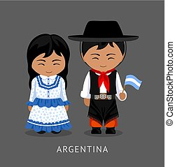 Argentines in national dress with a flag.