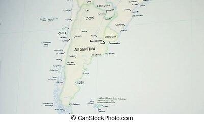 argentinië, op, een, kaart