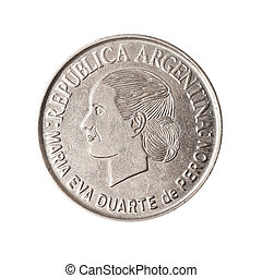 Argentinian coin with face of Evita. - Coin from argentina,...