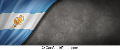 Argentinian flag on concrete wall banner
