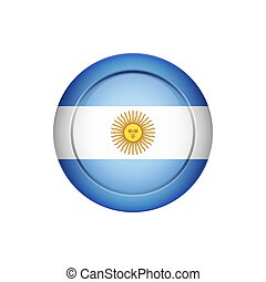 Argentinian flag on the round button, vector illustration