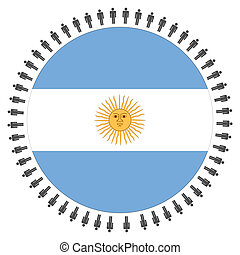 Argentinian flag with people