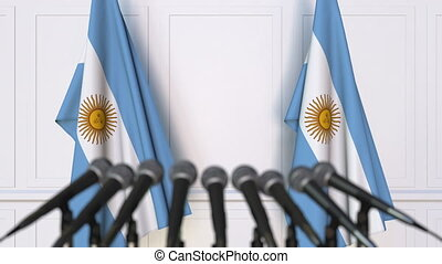 Argentinian official press conference. Flags of Argentina...