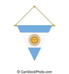 Argentinian triangle flag hanging, vector illustration