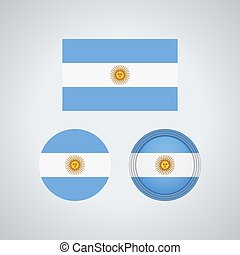 Argentinian trio flags, vector illustration