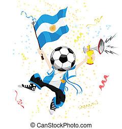 argentinien, fußballfan, mit, kugel, head.