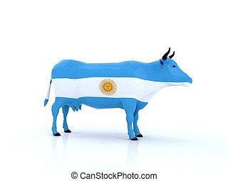 argentinien, kuh, 3d
