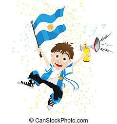 argentinien, sport, fächer, mit, fahne, und, horn