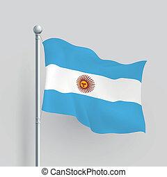 argentinien, vektor, fahne, 3d